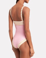 The Divine One Piece Swimsuit, PINK/BEIGE STRIPES, hi-res