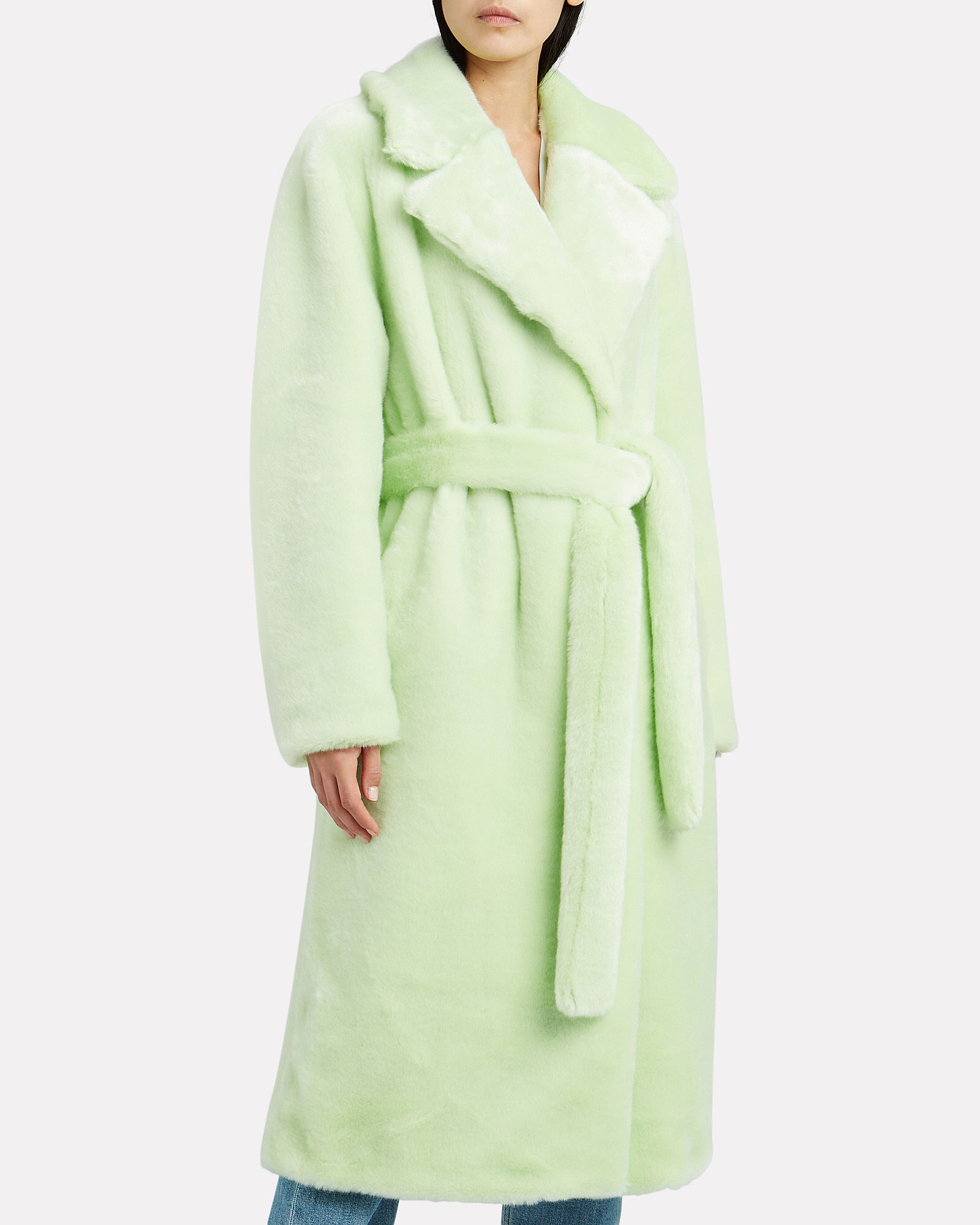 Oversized Faux Fur Wrap Coat, MINT, hi-res