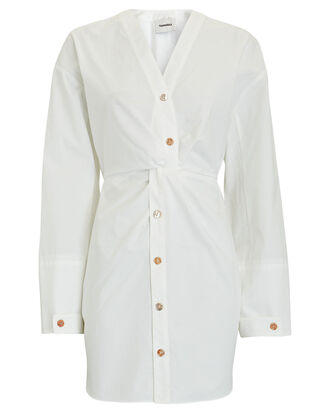 Johanna Poplin Button-Down Dress, WHITE, hi-res