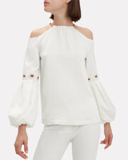 Balloon Sleeve Top, IVORY, hi-res