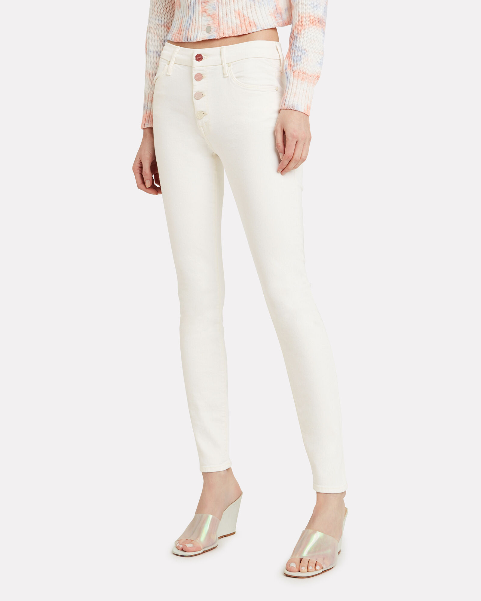 Pixie Rainbow Button Jeans, WHITE WASH DENIM, hi-res