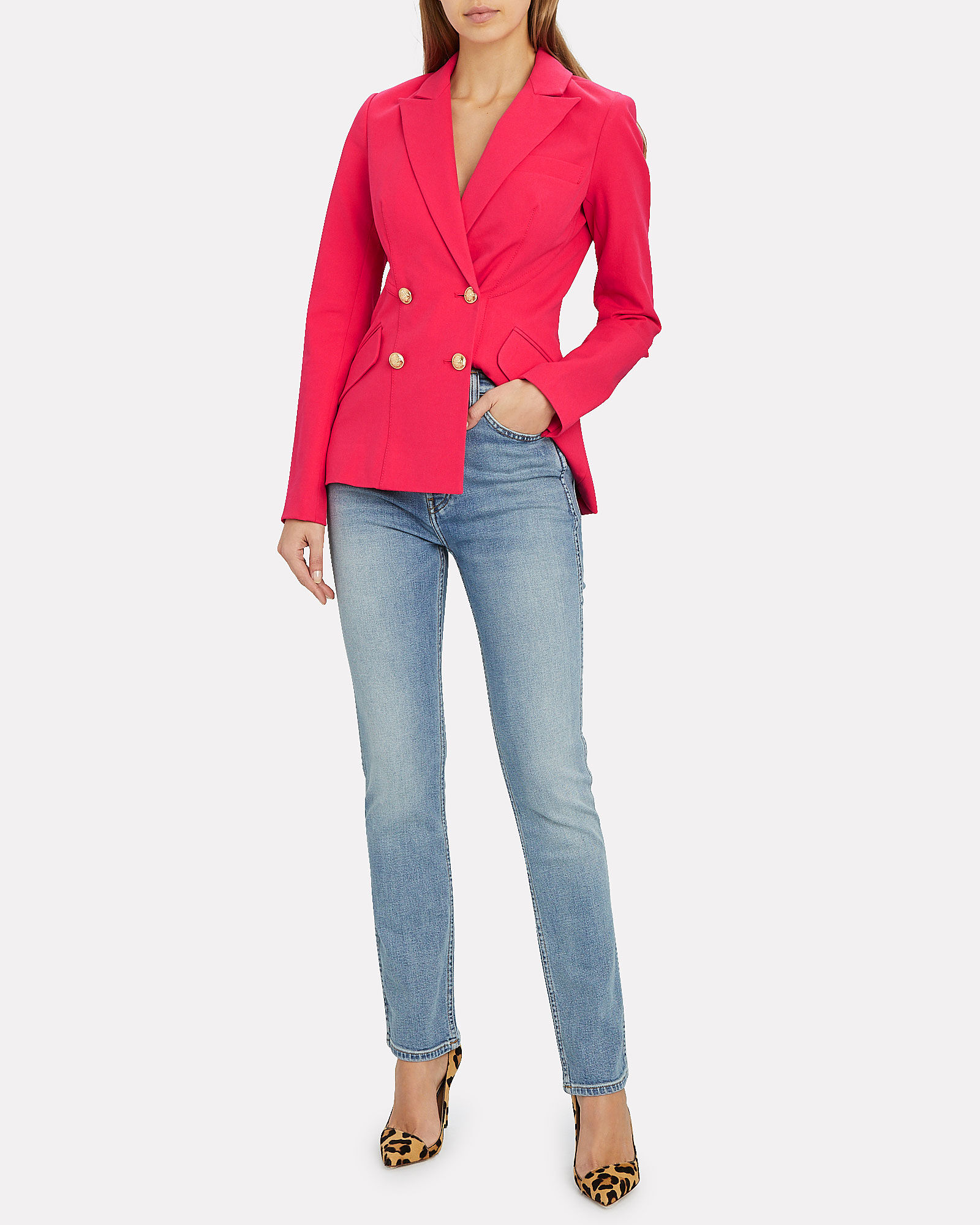 Rodeo Double-Breasted Blazer, HOT PINK, hi-res