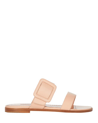 Leather Buckle Flat Sandals, BLUSH, hi-res