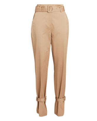Cinched Cotton Chino Pants, BEIGE, hi-res