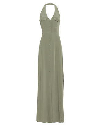Amina Crepe De Chine Halter Dress, OLIVE, hi-res