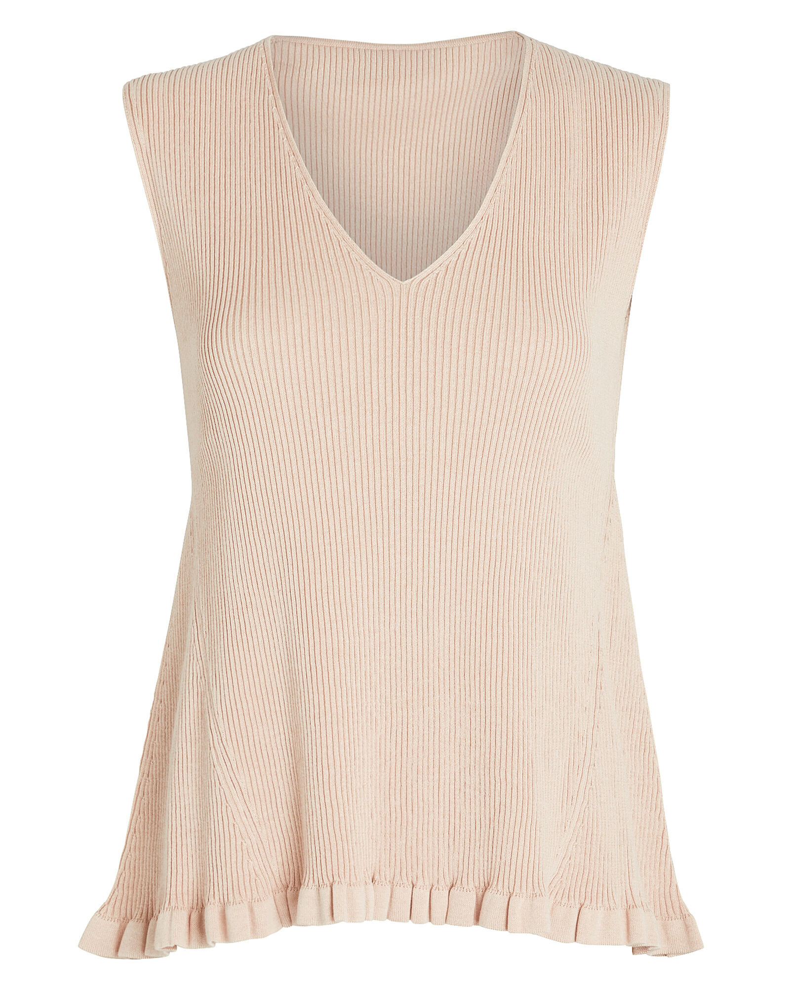 Ruffled V-Neck Knit Top, , hi-res