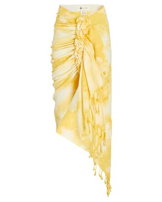 Tulum Ruched High-Low Skirt, YELLOW, hi-res
