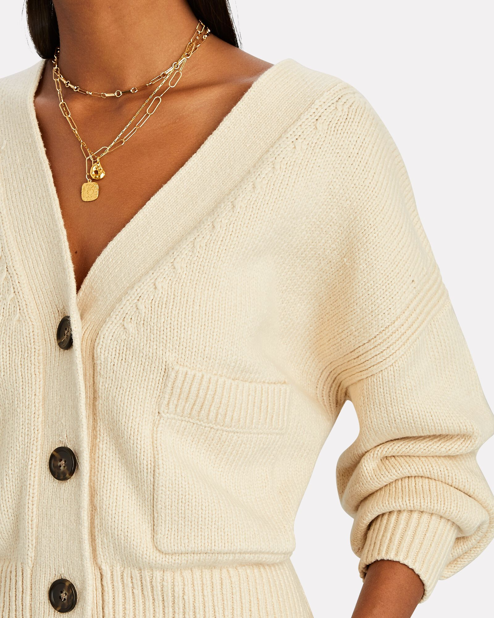 Vincent V-Neck Cotton-Blend Cardigan, BEIGE, hi-res