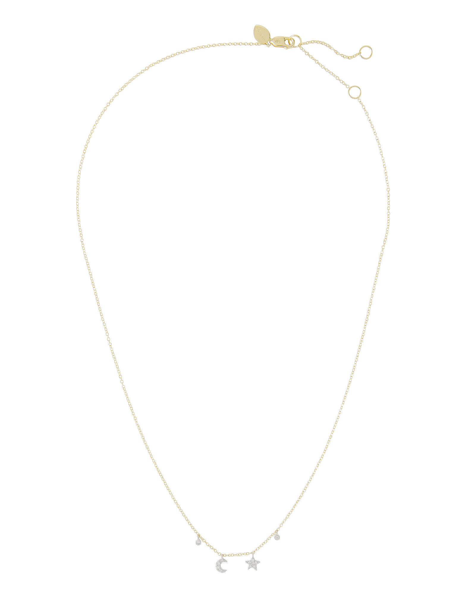 Delicate Moon And Star Necklace, GOLD, hi-res