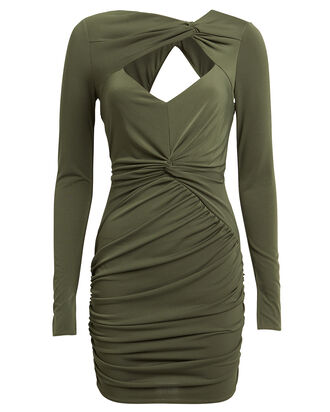 Fever Draped Mini Dress, OLIVE GREEN, hi-res