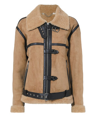 Shearling Biker Jacket, BROWN, hi-res