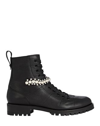 Cruz Crystal-Embellished Combat Boots, BLACK, hi-res