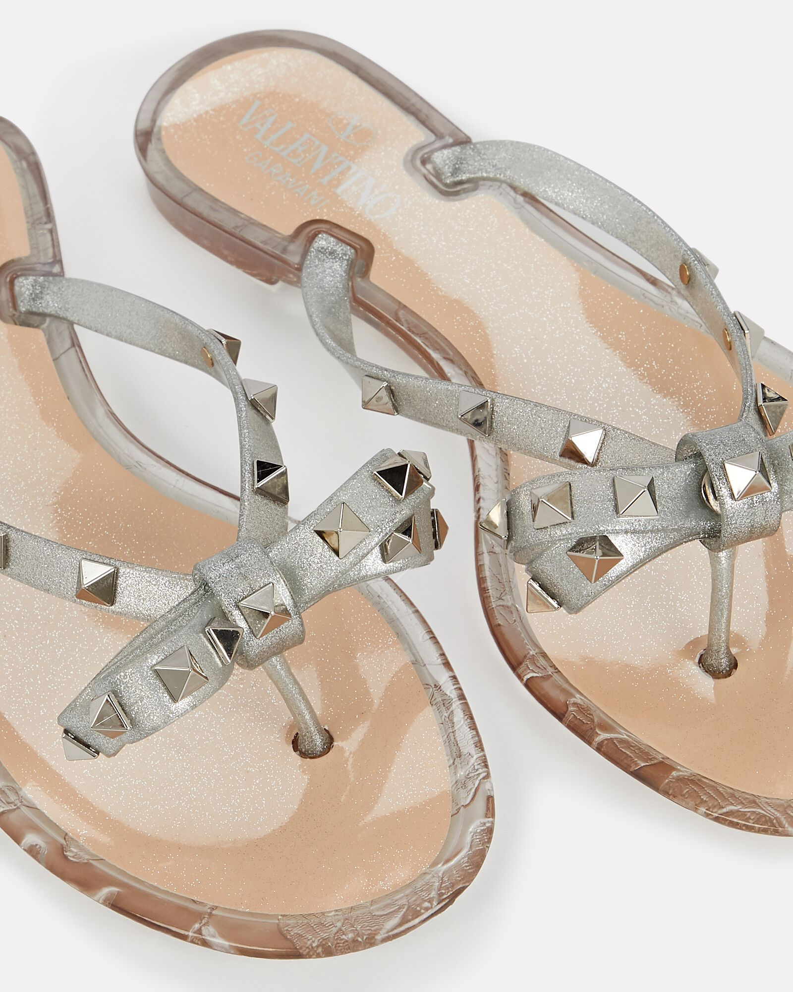 Rockstud Jelly Bow Sandals, SILVER, hi-res