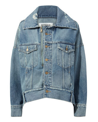 Cocoon Oversized Denim Jacket, BLUE, hi-res