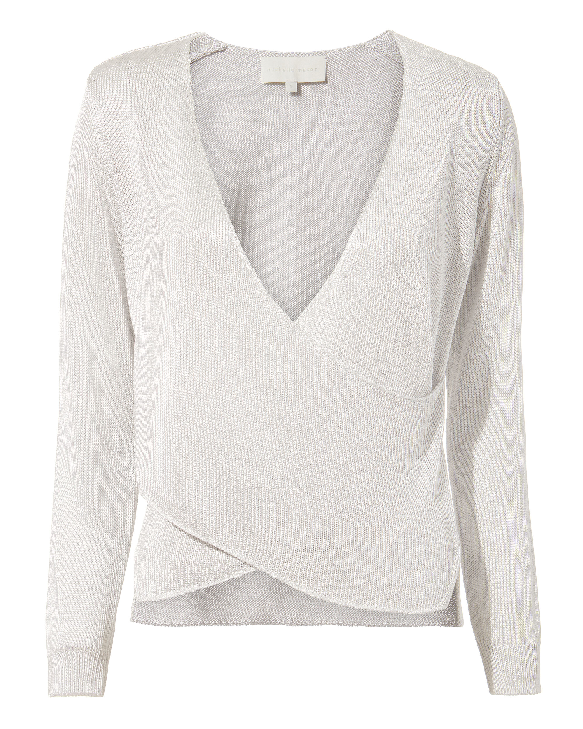 Cross Wrap Silver Sweater, SILVER, hi-res