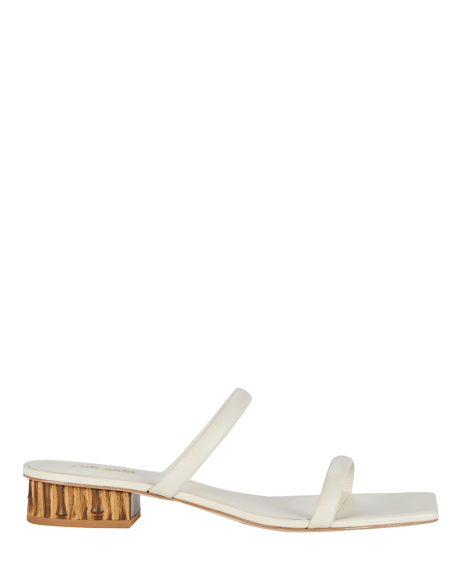 Liz Leather Slide Sandals, WHITE, hi-res