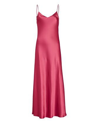 Satin Maxi Slip Dress, PINK, hi-res