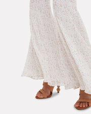 High-Rise Bell Flare Floral Pants, IVORY FLORAL, hi-res