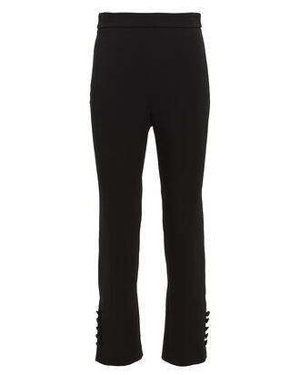 High-Rise Slim Crepe Pants, BLACK, hi-res
