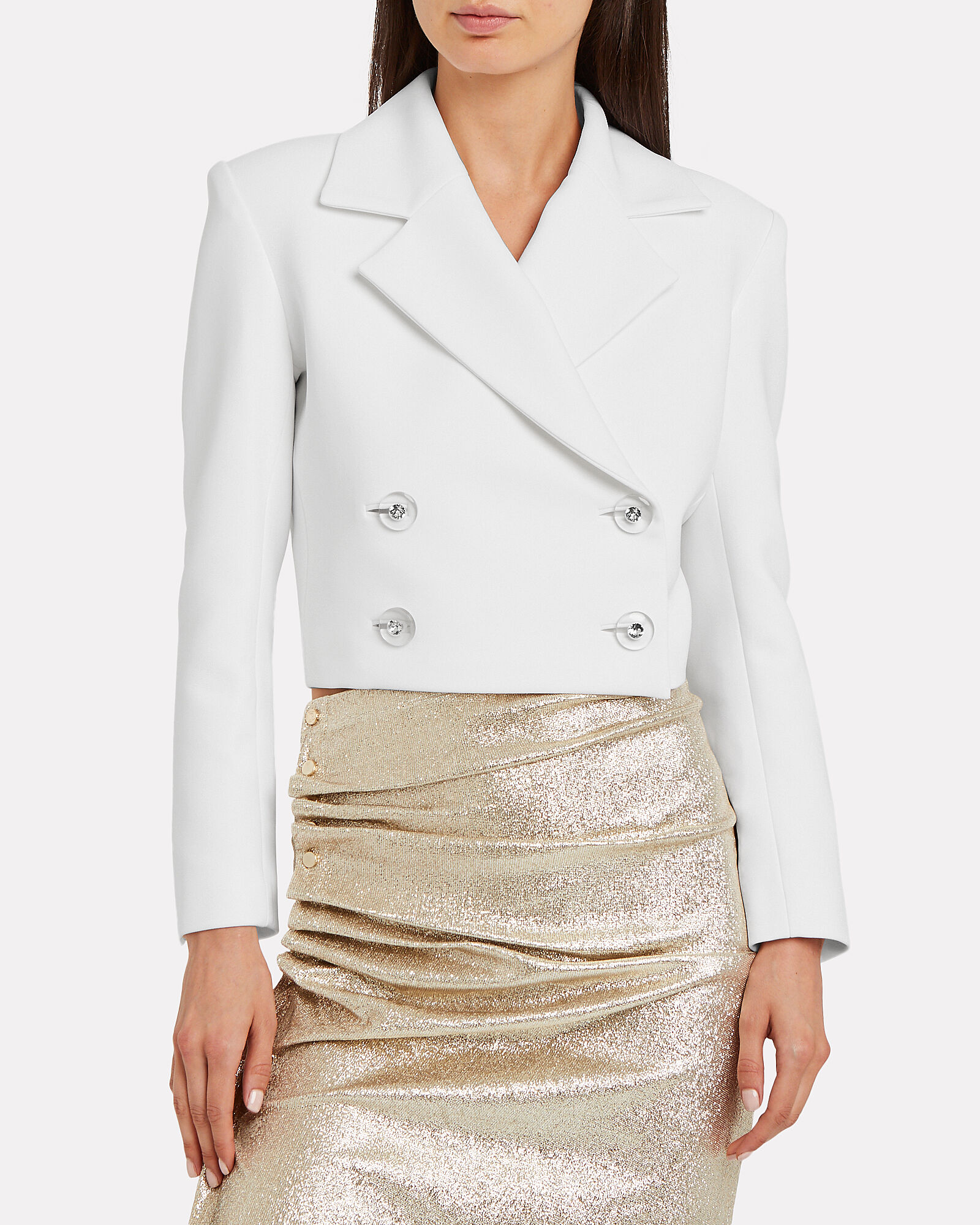Cropped Crepe Double Breasted Blazer, WHITE, hi-res
