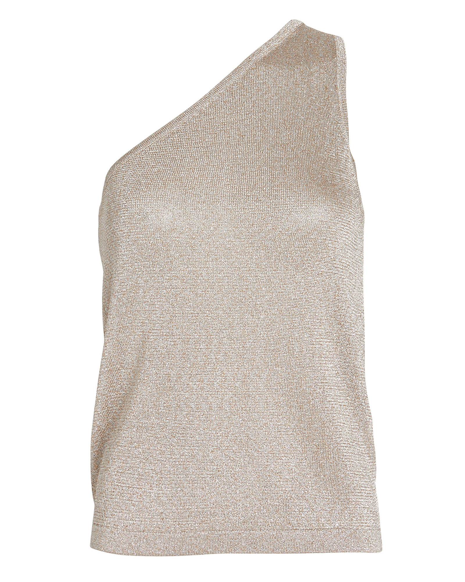 Lurex One-Shoulder Knit Top, GOLD, hi-res