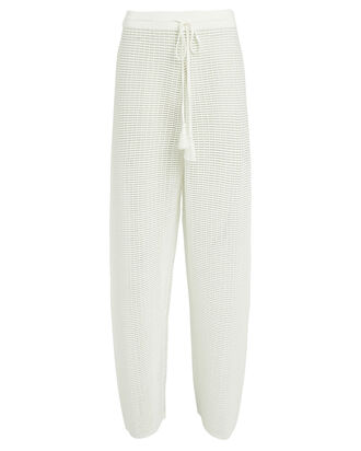 Holly Wide Leg Mesh Pants, WHITE, hi-res