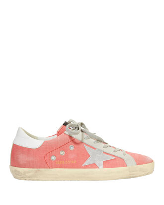 Superstar Pink Denim Low-Top Sneakers, PINK, hi-res