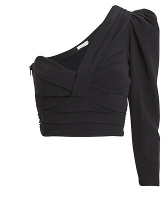 Lizzy One-Shoulder Crepe Blouse, BLACK, hi-res