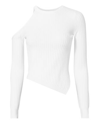 Renee Cold Shoulder White Knit Top, WHITE, hi-res