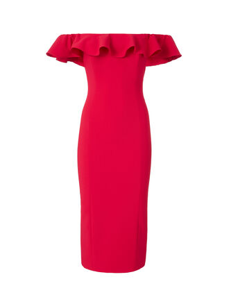 Rollins Ruffle Dress, RED, hi-res