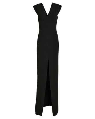 Ziva Split Front Gown, BLACK, hi-res