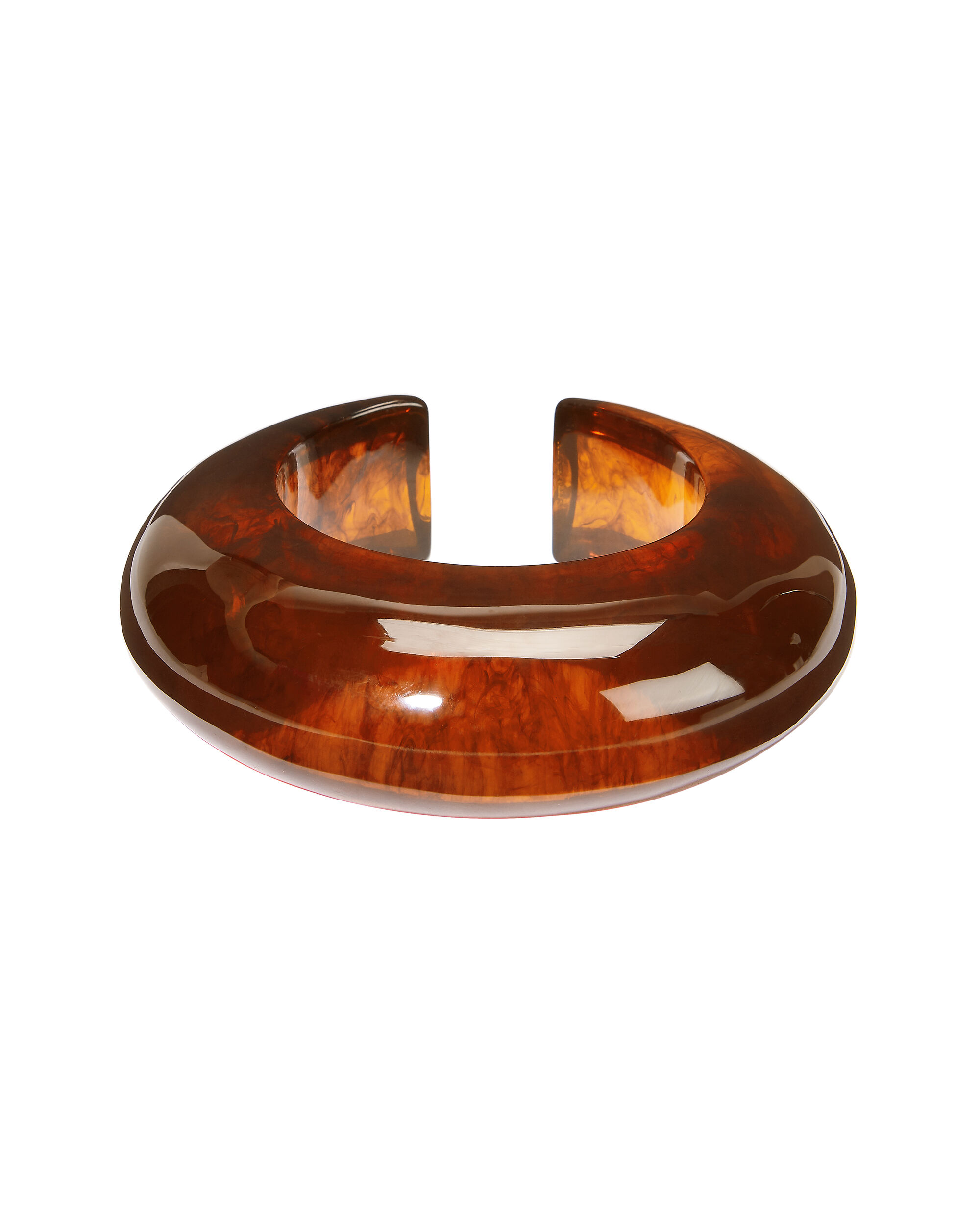 Amber Acrylic Cuff Bracelet, BROWN, hi-res