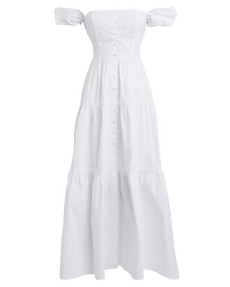 Elio Off-The-Shoulder Cotton Dress, WHITE, hi-res
