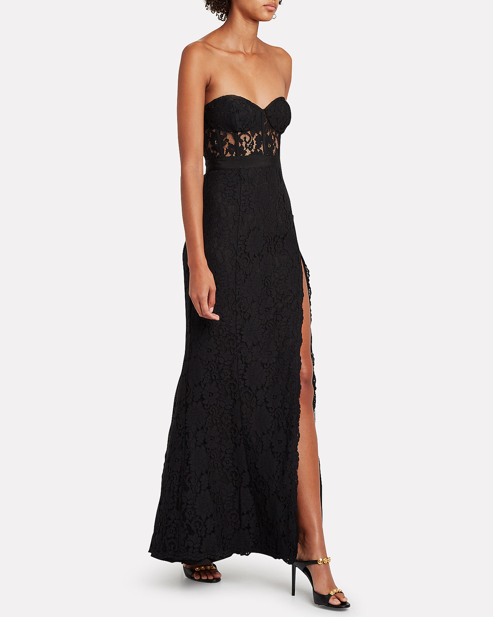 Mariposa Strapless Lace Gown, BLACK, hi-res
