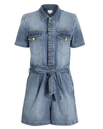 Belted Denim Romper, MEDIUM WASH DENIM, hi-res