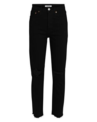 90s High-Rise Ankle Crop Jeans, BLACK, hi-res