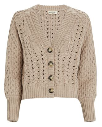 Savva Cable Knit Merino Wool Cardigan, BEIGE, hi-res