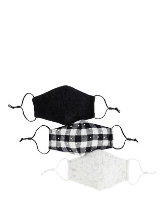Embellished Face Mask 3-Pack, BLK/WHT, hi-res