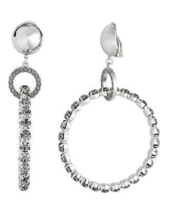 Crystal Hoop Earrings, SILVER, hi-res
