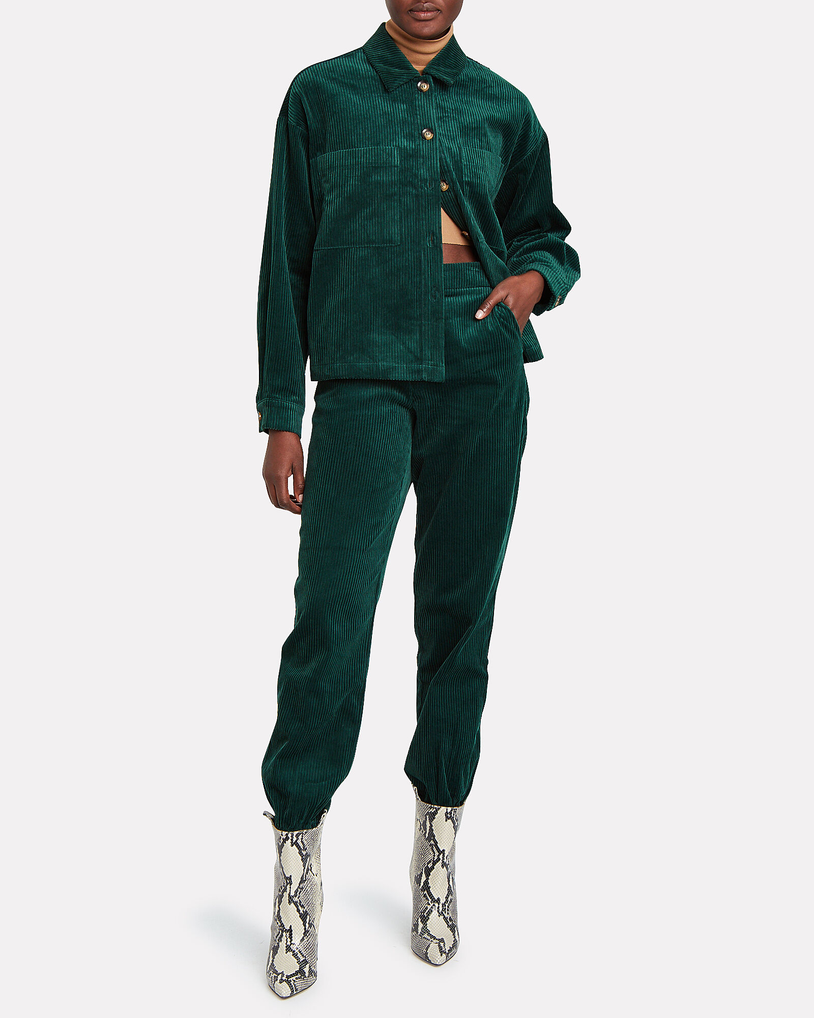 Velva Oversized Corduroy Shirt, GREEN, hi-res