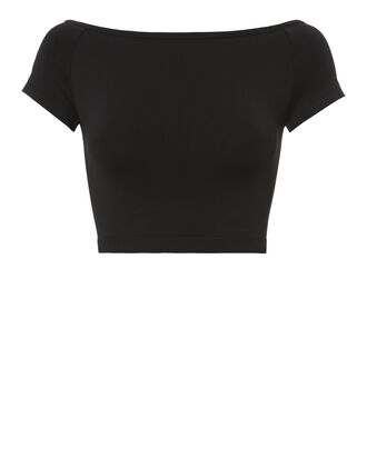 Seamless Off-The-Shoulder Crop Top, BLACK, hi-res