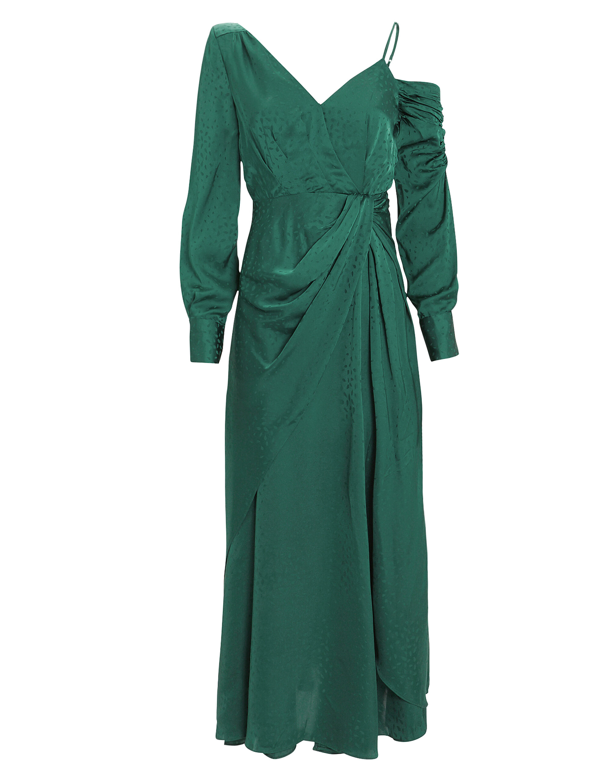 Asymmetric Jacquard Midi Dress, GREEN, hi-res