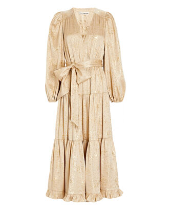 Helena Gilded Silk Midi Dress, GOLD, hi-res