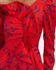 Printed Frill Top, RED/NAVY, hi-res