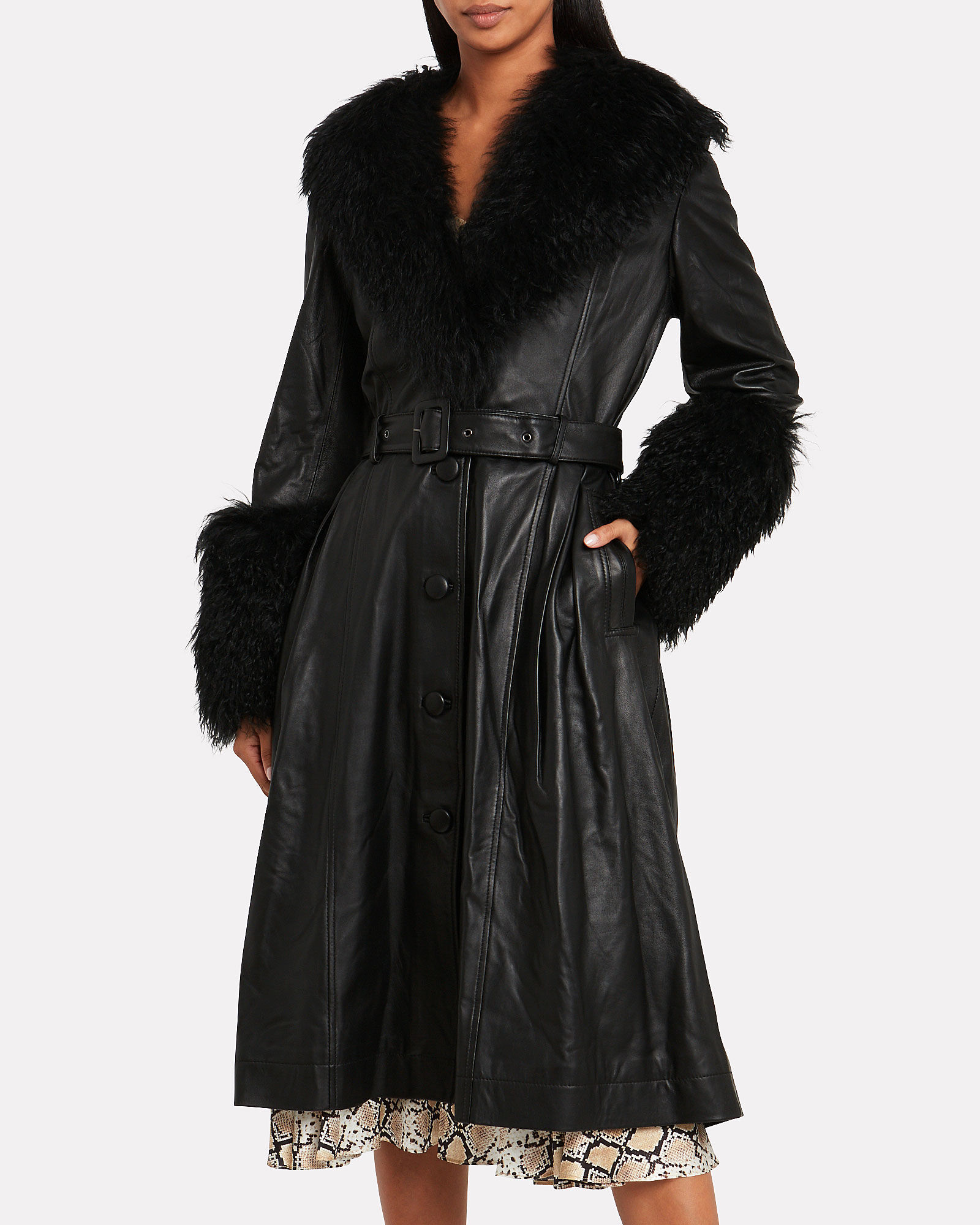Foxy Shearling Patent Leather Coat, BLACK, hi-res