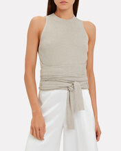 Tie Waist Lurex Knit Top, GUNMETAL, hi-res