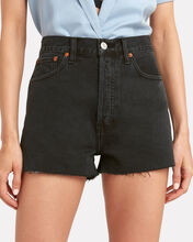 Cut-Off Denim Shorts, BLACK, hi-res