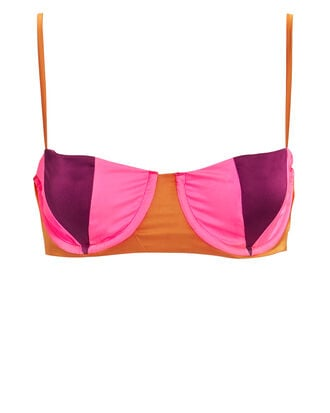 Stella Paneled Bra, PINK/ORANGE, hi-res