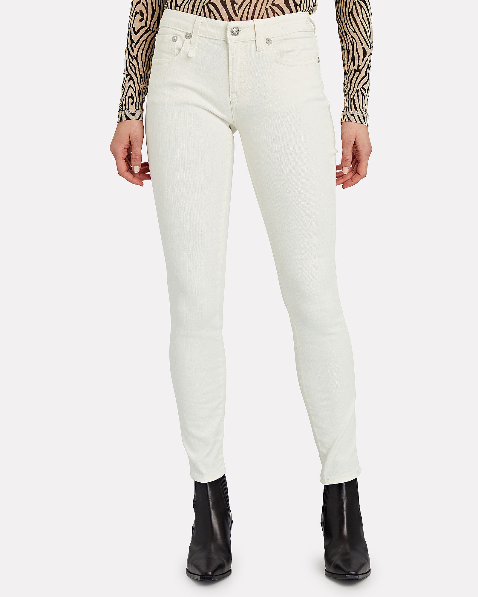 Kate Mid-Rise Skinny Jeans, WHITE, hi-res