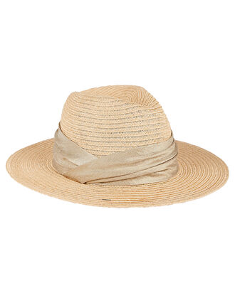 Courtney Ruched Straw Sun Hat, BEIGE, hi-res